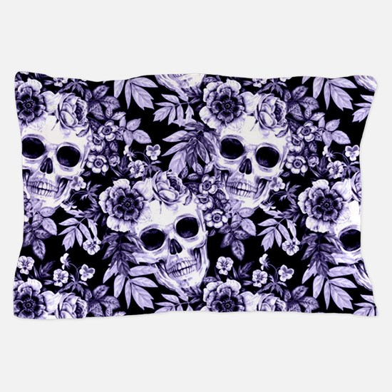 Skulls and Flowers Blue Pillow Case