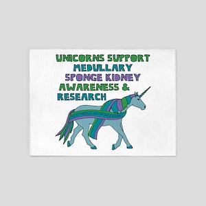 Unicorns Support Medullary sponge k 5'x7'Area Rug