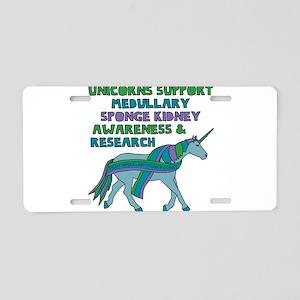 Unicorns Support Medullary Aluminum License Plate
