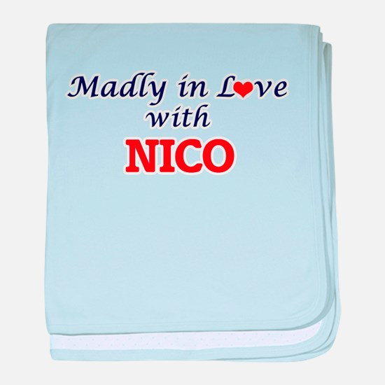 Madly in love with Nico baby blanket