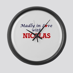 Madly in love with Nicolas Large Wall Clock