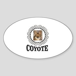 round framed coyote Sticker