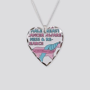 Unicorns Support Male Breast Necklace Heart Charm