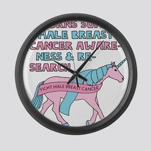 Unicorns Support Male Breast Canc Large Wall Clock