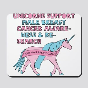 Unicorns Support Male Breast Cancer Awar Mousepad
