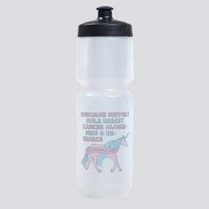 Unicorns Support Male Breast Cancer Sports Bottle