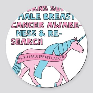 Unicorns Support Male Breast Canc Round Car Magnet