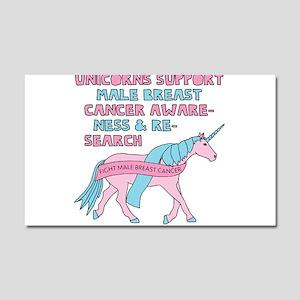 Unicorns Support Male Breast Ca Car Magnet 20 x 12