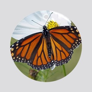 Monarch Butterfly on Cosmos Round Ornament