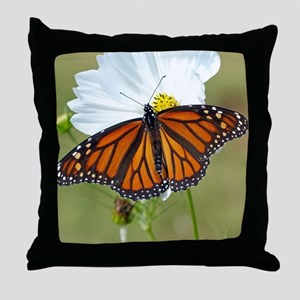 Monarch Butterfly on Cosmos Throw Pillow