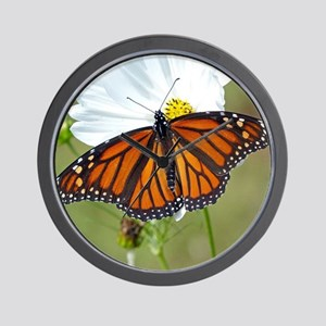 Monarch Butterfly on Cosmos Wall Clock