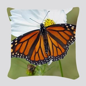 Monarch Butterfly on Cosmos Woven Throw Pillow
