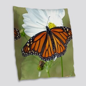 Monarch Butterfly on Cosmos Burlap Throw Pillow