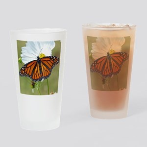 Monarch Butterfly on Cosmos Drinking Glass