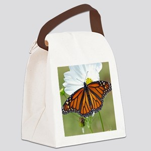 Monarch Butterfly on Cosmos Canvas Lunch Bag