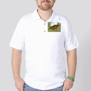 Monarch Butterfly on Cosmos Golf Shirt