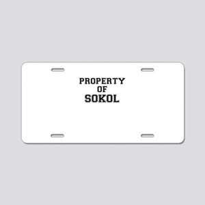 Property of SOKOL Aluminum License Plate