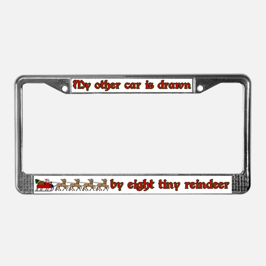 My Other Car/Drawn by Reindeer License Plate Frame