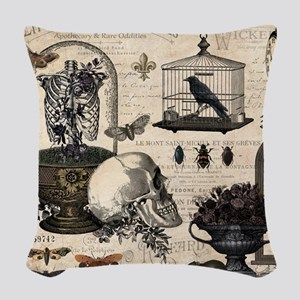 Modern Vintage Halloween Garden Woven Throw Pillow