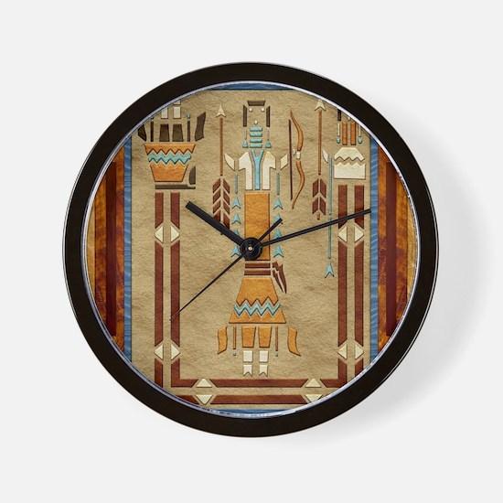 Harvest Moons Navajo Sand Painting Wall Clock