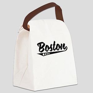 Boston MA Retro Logo Canvas Lunch Bag