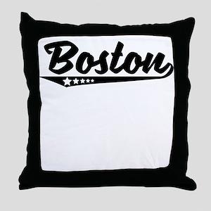 Boston MA Retro Logo Throw Pillow