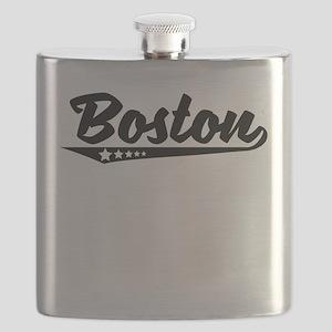 Boston MA Retro Logo Flask