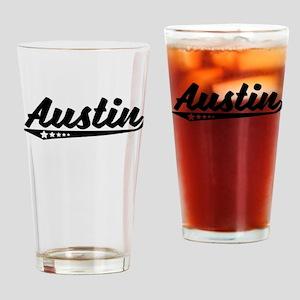 Austin TX Retro Logo Drinking Glass