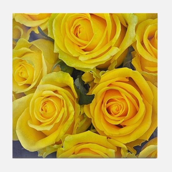 Beautiful yellow roses Tile Coaster