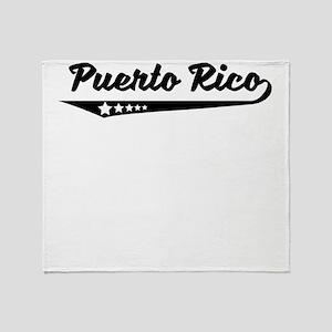 Puerto Rico Retro Logo Throw Blanket