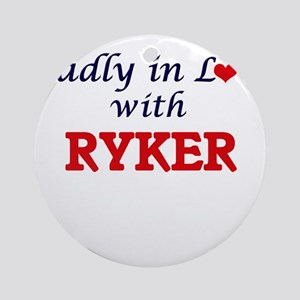Madly in love with Ryker Round Ornament