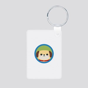Cute puppy dog with blue circle Keychains