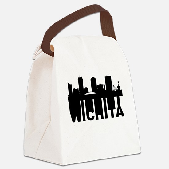 Roots Of Wichita KS Skyline Canvas Lunch Bag