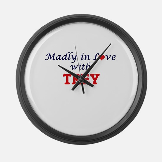 Madly in love with Trey Large Wall Clock