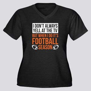 Football Season Women's Plus Size V-Neck Dark T-Sh