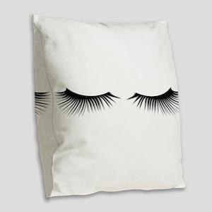Eyelashes Burlap Throw Pillow