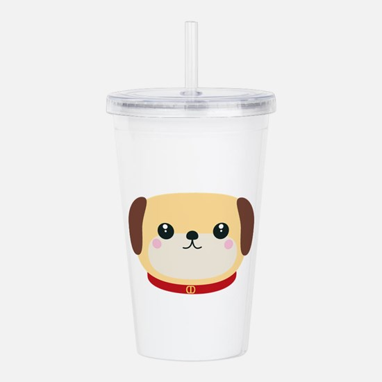 Cute puppy Dog with re Acrylic Double-wall Tumbler