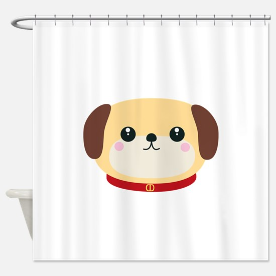 Cute puppy Dog with red collar Shower Curtain