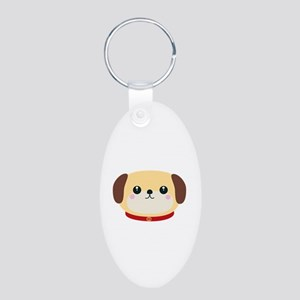 Cute puppy Dog with red collar Keychains
