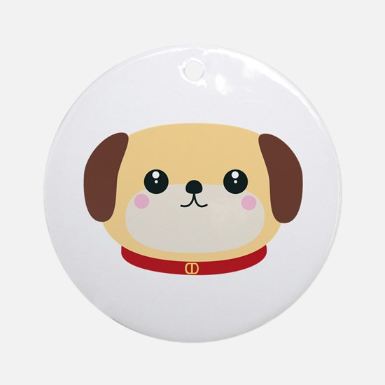 Cute puppy Dog with red collar Round Ornament