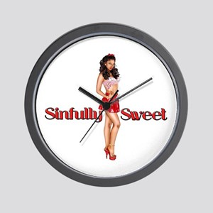 Sexy Sinfully Sweet Pinup Wall Clock