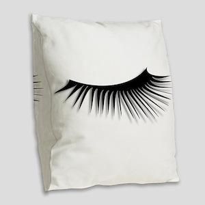 Eye Lash Burlap Throw Pillow