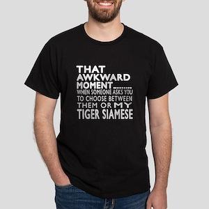 Awkward Tiger siamese Cat Designs Dark T-Shirt