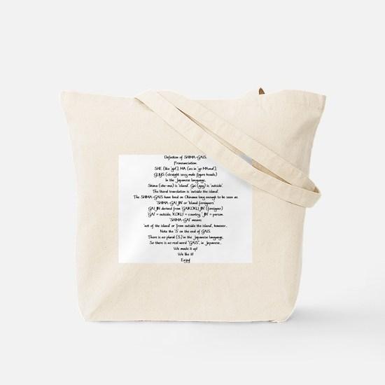 Shima-Gais Tote Bag (definition on back)