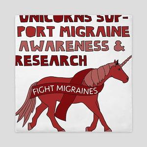 Unicorns Support Migraine Awareness Queen Duvet