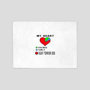 My Heart, Friends, Family, Silky Te 5'x7'Area Rug