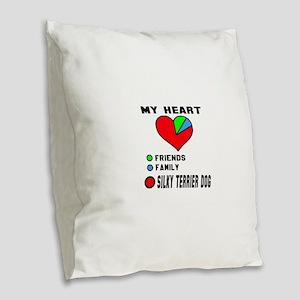 My Heart, Friends, Family, Sil Burlap Throw Pillow
