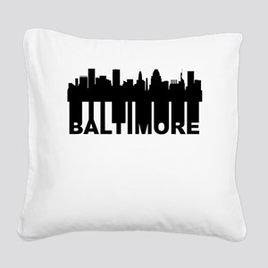 Roots Of Baltimore MD Skyline Square Canvas Pillow