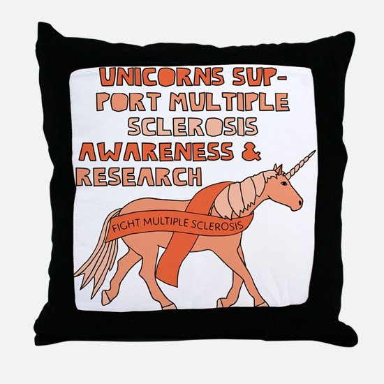 Unicorns Support Multiple Sclerosis A Throw Pillow