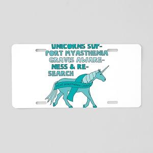 Unicorns Support Myasthenia Aluminum License Plate